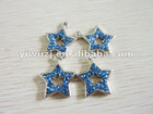 2012 New Hot fashion charm 316L Surgical Stainless Steel star shaped gem blue stone dangle pendant