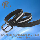 2013 New Black men jeans leather belt with fabric belt