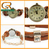 100040 2013 diamante PU brown leather lady watch