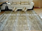rabbit fur dyed leopart color , blanket, tthrow and pillows