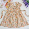 100%cotton voile embroidered short sleeve dress
