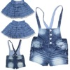 Kids fashion denim dress and suspender pants