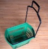 Rolling plastic shopping basket with wheels