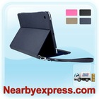 Blue Leather Tablet Folio Case with Smart Magnetic Wake/Sleep Cover and Adjustable Multi-angle Stand, for iPad 2 & The New iPad