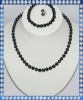N189 fashion black round pearl set