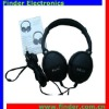 Black DJ Music Earphone With High Leather Earmuffs