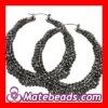 Black Bamboo Crystal Hoop Earrings Wholesale