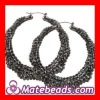 Black Bamboo Crystal Hoop Earrings Wholesale