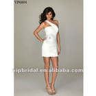 SMini sexy white one-shoulder with flower short party dress
