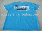 men's fashion blue round T-shirt