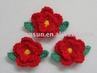 China Manufacturers sales Two-Layers Hand Crochet Flower for Garment Accessories ( 3058-2 red )
