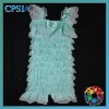 latest fashion aqua lace rompers with white lace trim for princess