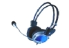 Black colour computer stereo headphone with microphone