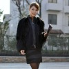 2012 classic sheep black plush fur coat for lady