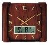 large square wooden analog wall clock and LCD calendar
