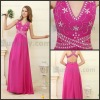 Royal Bling V Neck Beading Chiffon Long Evening Formal Dresses