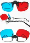 clip on red/blue plastic 3D glasses(3D011)