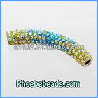 Wholesale Multicolor Tube Beads Metal Micro Pave Austrian Crystal Rhinestone For DIY Making Shamballa Bracelets CTB-032