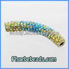 Wholesale Multicolor Tube Beads Metal Micro Pave Austrian Crystal Rhinestone For DIY Making Shamballa Bracelets CTB-032