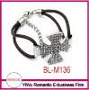 new design rhinestone cross leather bracelet