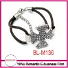 new design rhinestone cross leather bracelet
