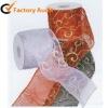 Glitter organza sewn edge ribbon for decoration