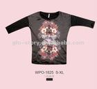 2013 ladies fashion cotton tshirt with contrast silk fabric
