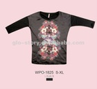 2013 ladies fashion cotton tshirt with contrast silk fabric