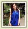 Ladies' elegant royalblue satin sleeveless chiffon blouse