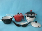 hand dots painting two handles solid colors stoneware soup bowl with cover and spoon