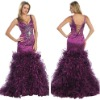 Stunning Mermaid V-neck Sleeveless Sequined Organza Fashion Prom Dress