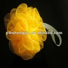 45g yellow bath puff with hang tag