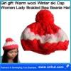 Girl gift Warm wool Winter ski Cap Women Lady Braided Bea Beanie Hat 02