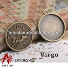 Antique bronze Virgo Alloy Metal Setting For Crystal 12 constellation