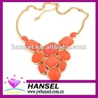 orange color alloy necklace big stone alloy necklaces chunky alloy necklace
