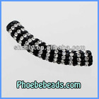 Wholesale Pave CZ Crystal Rhinestone Tube Beads Long Curved Bar White&Black For DIY Shamballa Bracelets CTB-037