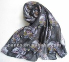 2013 Ladies Skull Printed Polyester Long Voile Fabric Scarves