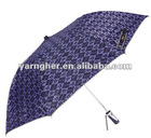 2folding automatic touch weaving and silver coated umbrella