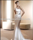 2011 trumpet One-shoulder plain ivory wedding dresses
