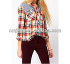 Literature art temperament splicing plaid shirt