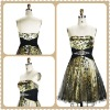 Mini Black Leopard Grain And the Waist Pleat And Beaded Sleeveless Prom Dress mother of the bride dress MY-12158
