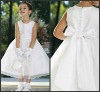 K4484 White Ankle-length Satin With Bow Flower Girl Dress