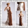 GD3278 attractive chiffon one-shoulder beaded & ruffle dress frock