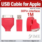 pink 1M Colorful USB Data Charger Cable for Apple iPad/iPhone/iPod, Flat Cable