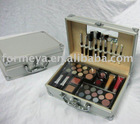 aluminum cosmetic case with eyeshadow and lipstick etc