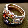 Promotional Alloy Three Finger Ring With Coloured Crystal