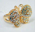 Multi color crystal crystal Butterfly ring crystal ring
