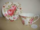 gift item:S/6 strengthened bone china tea cup(150cc, HS shape) & saucer in round gift box