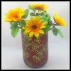 Cheap Round Golden & Red Glass Handmade Mosaic Flower Vase for Home Decoration or Wedding Gift