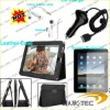 accessories for ipad with car charger ,adapter ,cable,leather case ,and screen protector